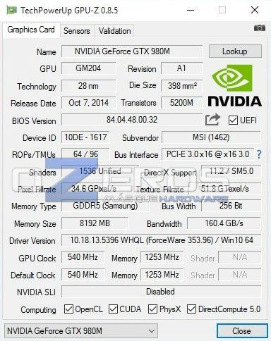 MSI GT72S 6QE Dominator Pro G - gpu-z