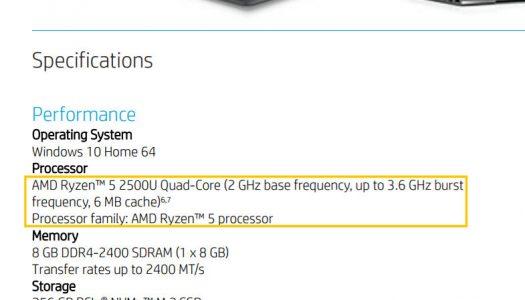 Portátil HP con procesador Ryzen y gráficos Vega avistado